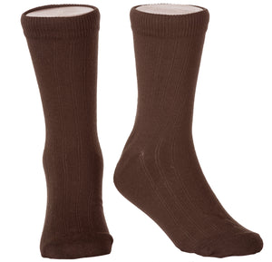 Children's Ribbed Crew Dress Socks in 6 Colors and Variety of Sizes