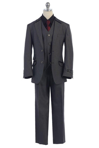 Boys Grey Slim Fit Suit - Designer Woven Checkered Pattern Sizes 3-20 - The Christening Cottage