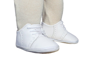 Baby Boys All White Genuine Leather Saddle Oxford Crib Shoe with Perforations - The Christening Cottage