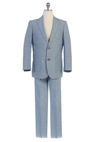 Boys Light Blue Linen Blue Suit Jacket & Pant Set - The Christening Cottage
