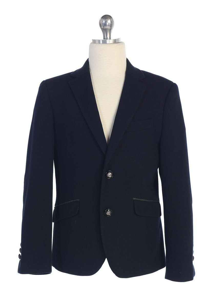 Boys Navy Slim Fit Blazer Jacket with Patched Elbows  Sizes 3-20 - The Christening Cottage