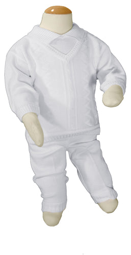 Boys 100% Cotton Knit Two Piece White Christening Baptism Outfit - The Christening Cottage