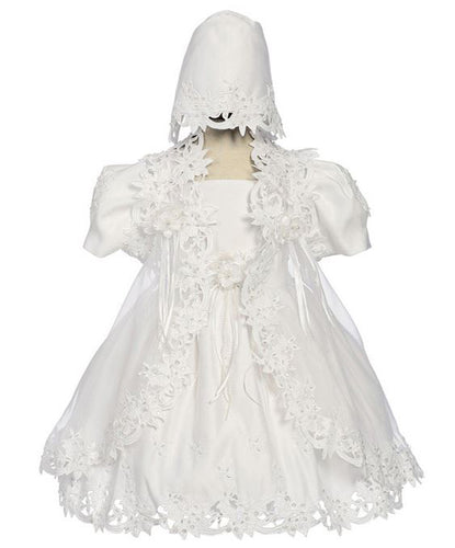 Baby Girls White Baptismal Christening Dress Elegant Applique - The Christening Cottage