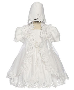 Baby Girls White Baptismal Christening Dress Elegant Applique
