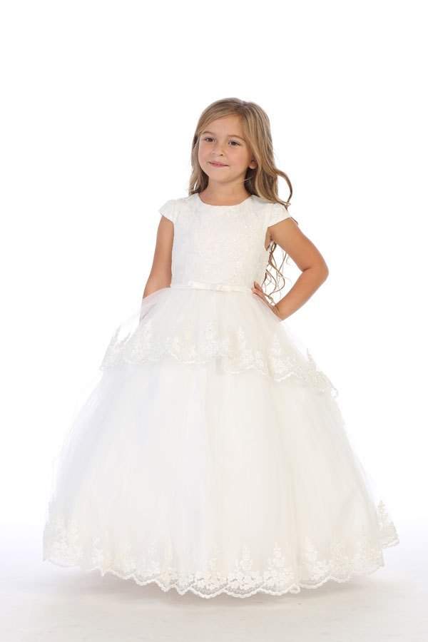 Girls Ivory Communion Dress with Capped Sleeves Sizes 2T-16 - The Christening Cottage