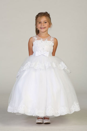 Girls Bouble Tiered Dress with Large Back Bow & Zipper Sizes 2-16 - The Christening Cottage