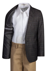 Fouger Boys Checkered Slim Fit Designer Suit with Khaki Pants