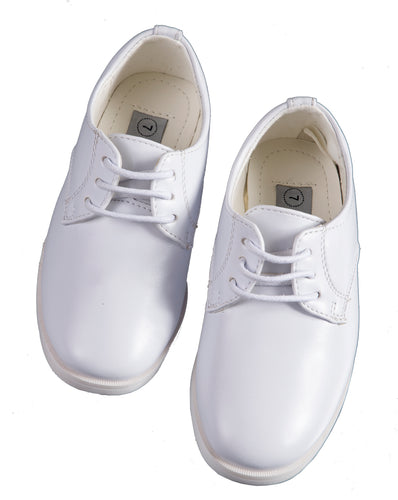 Boys White Round Toed Dress Shoes