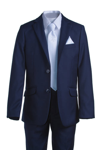 Boys Slim Fit Navy Suit with Communion Cross Neck Tie - The Christening Cottage
