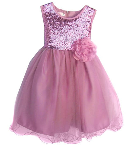 Girls Dusty Rose Tulle Sequin Dress in Toddler-Youth Sizes - The Christening Cottage