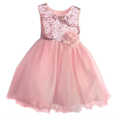 Girls Blush Pink Tulle Sequin Party Dress Available in Toddler-Youth Sizes - The Christening Cottage