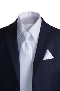 63f87afd731b Boys Navy Blue Communion Suit with Religious Cross Neck Tie (Slim & Husky)