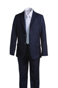 Boys Navy Blue Communion Suit with Religious Cross Neck Tie (Slim & Husky)