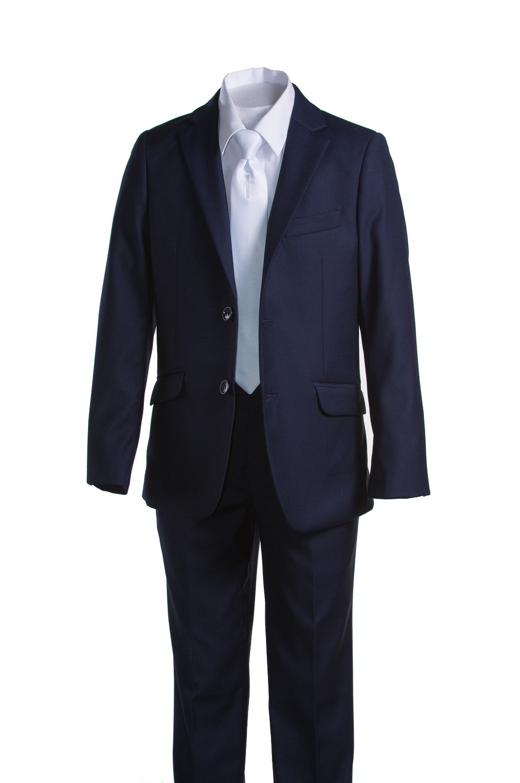 Boys Navy Blue Communion Suit with Religious Cross Neck Tie (Slim & Husky) - The Christening Cottage