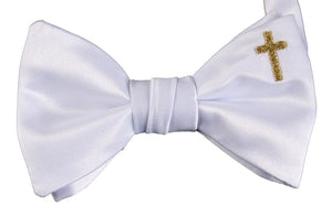 Handmade White Bow Tie with Cross Embroidery Boys & Youth Sizes - The Christening Cottage