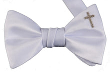 Load image into Gallery viewer, Handmade White Bow Tie with Cross Embroidery Boys & Youth Sizes - The Christening Cottage
