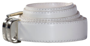 Youths Adjustable Solid White Faux Leather Dress Belt - The Christening Cottage