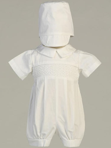 Babies White Smocked Cotton Christening Romper - The Christening Cottage