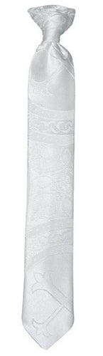 Handmade White Clergy Pattern Neck Tie Toddler to Youth Sizing - The Christening Cottage