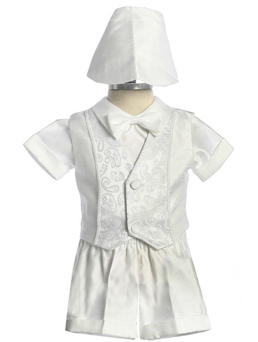 Baby Toddlers Satin Baptismal Short Set with Paisley Design - The Christening Cottage