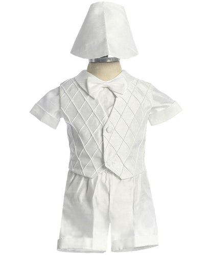 Shantung Baptismal  Short Set  with Diamond Pattern Vest - The Christening Cottage