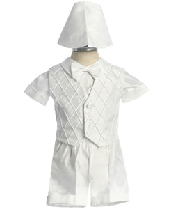 Shantung Baptismal  Short Set  with Diamond Pattern Vest