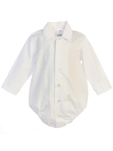 Infant Polyester Cotton Dress Shirt Onesie - The Christening Cottage