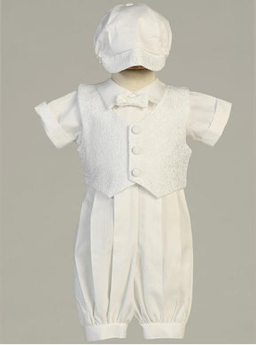 Poly Cotton Christening Romper with Paisley Vest, Bow Tie, and Hat