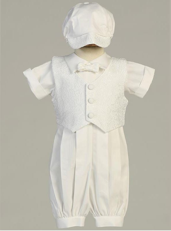 Poly Cotton Christening Romper with Paisley Vest, Bow Tie, and Hat - The Christening Cottage