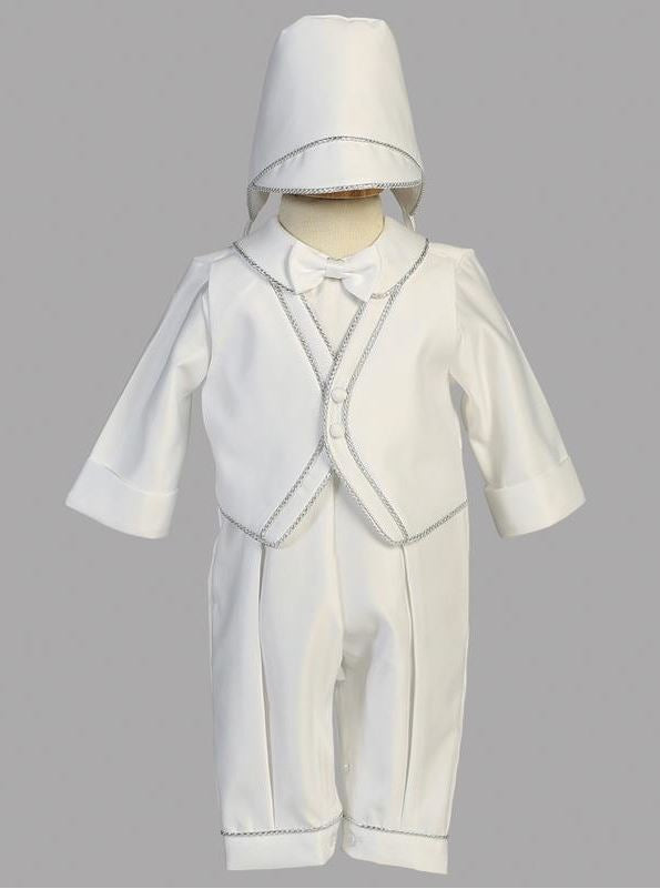 Boys Satin Christening Romper