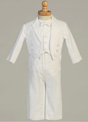 Infant Toddlers White Cotton Tail Tuxedo with Pique Vest