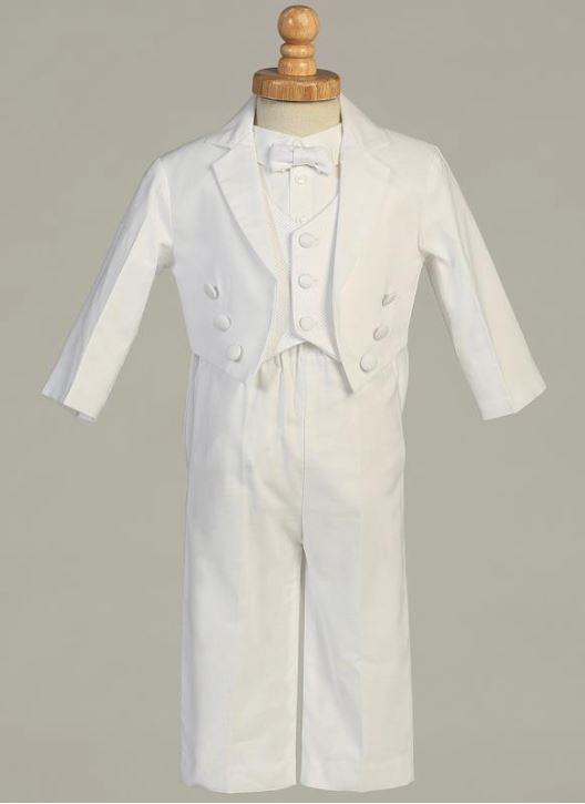 Infant Toddlers White Cotton Tail Tuxedo with Pique Vest - The Christening Cottage