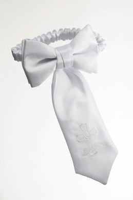 Boys White Satin Communion Armband with Embroidered Cross