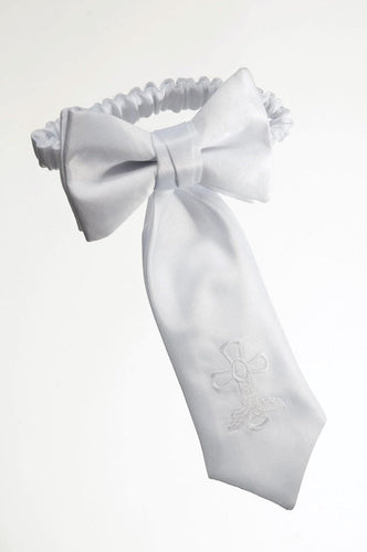 Boys White Satin Communion Armband with Embroidered Cross - The Christening Cottage
