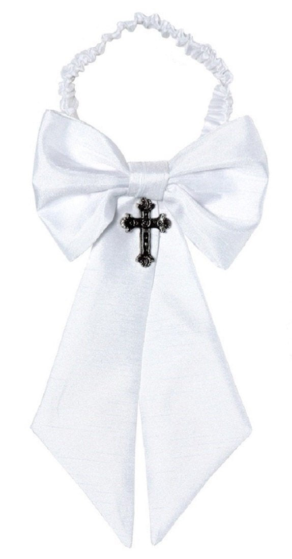 Boys Shantung Sateen Communion Armband with Cross Pendant