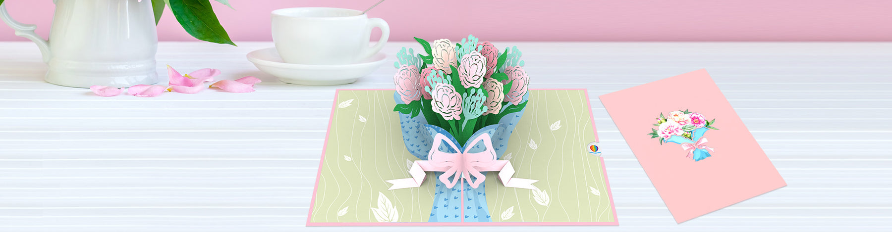 Bouquet of Peony pop up card banner