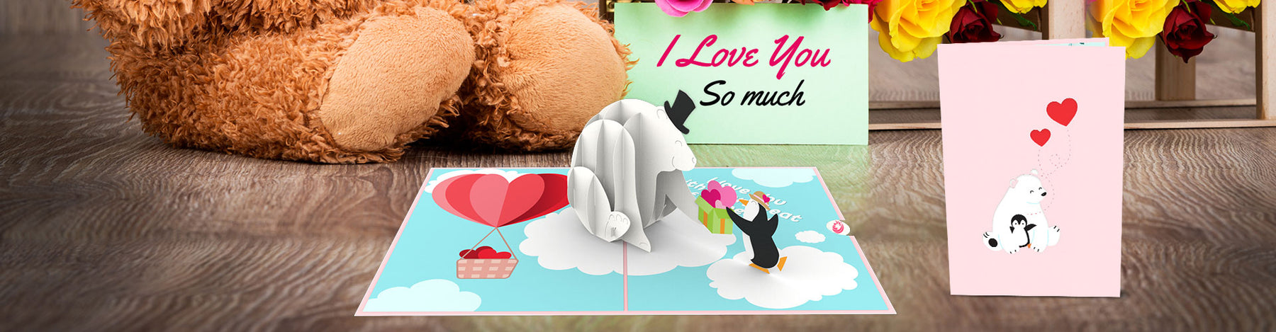 i love you pop up card banner
