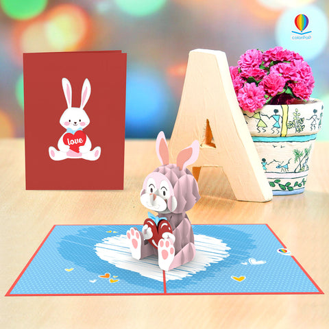 3D I Love You Card Template bunny