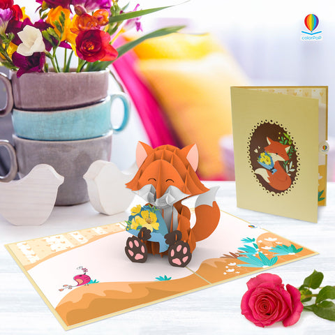 7 flower pop up card fox