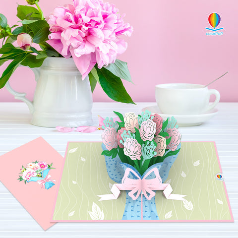 Bouquet of Peony 7 flower pop up card