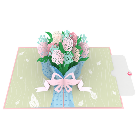 Bouquet of Peony Pop up card 3d