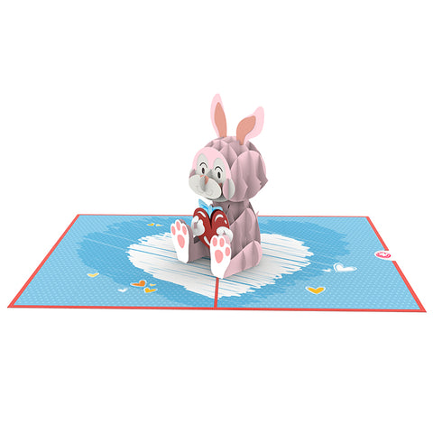 Bunny with Love 3D pop up card template model