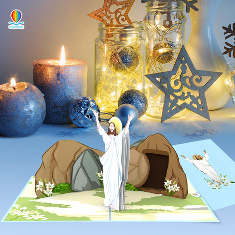 CP046 Christ is risen pop up card easter