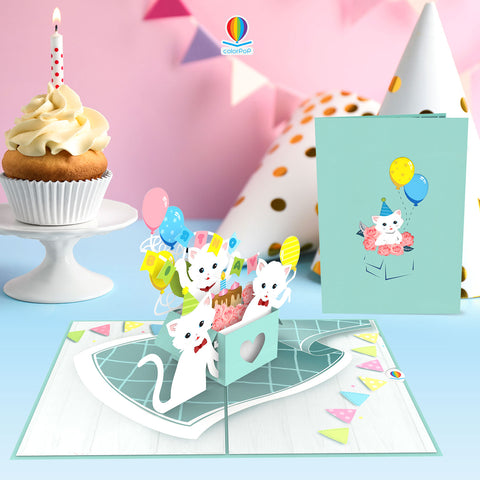 Cats Birthday Party pop up card birthday