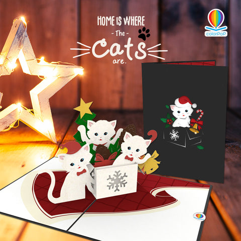 Christmas pop up card ideas cats