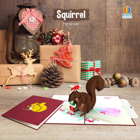 Christmas pop up card ideas squirrel