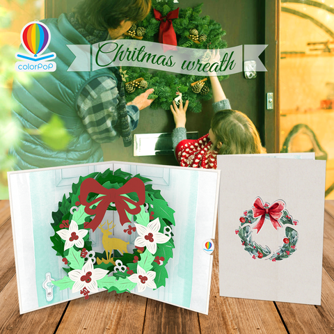 Christmas Wreath pop up greeting cards