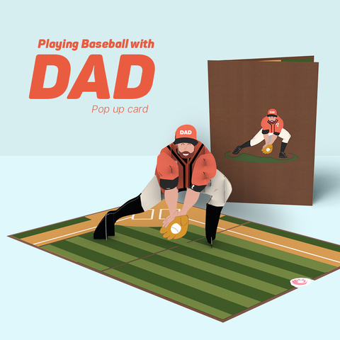 FB Playing Baseball with Dad pop up card for dad