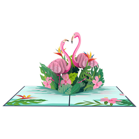 Flamingo 3D pop up card template Model