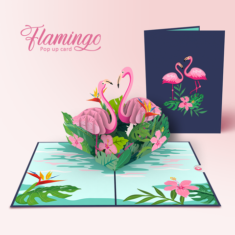 Flamingo bird pop up card